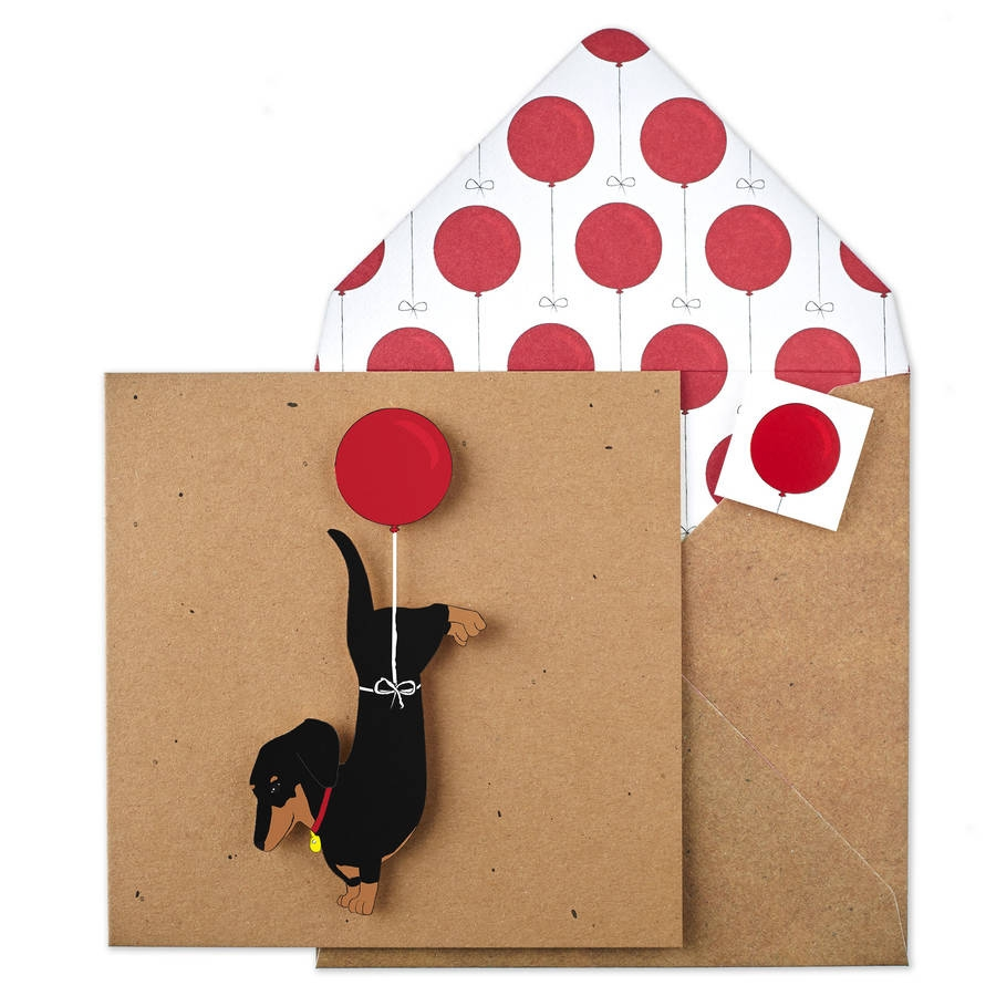 handmade dachshund balloon birthday personalised card
