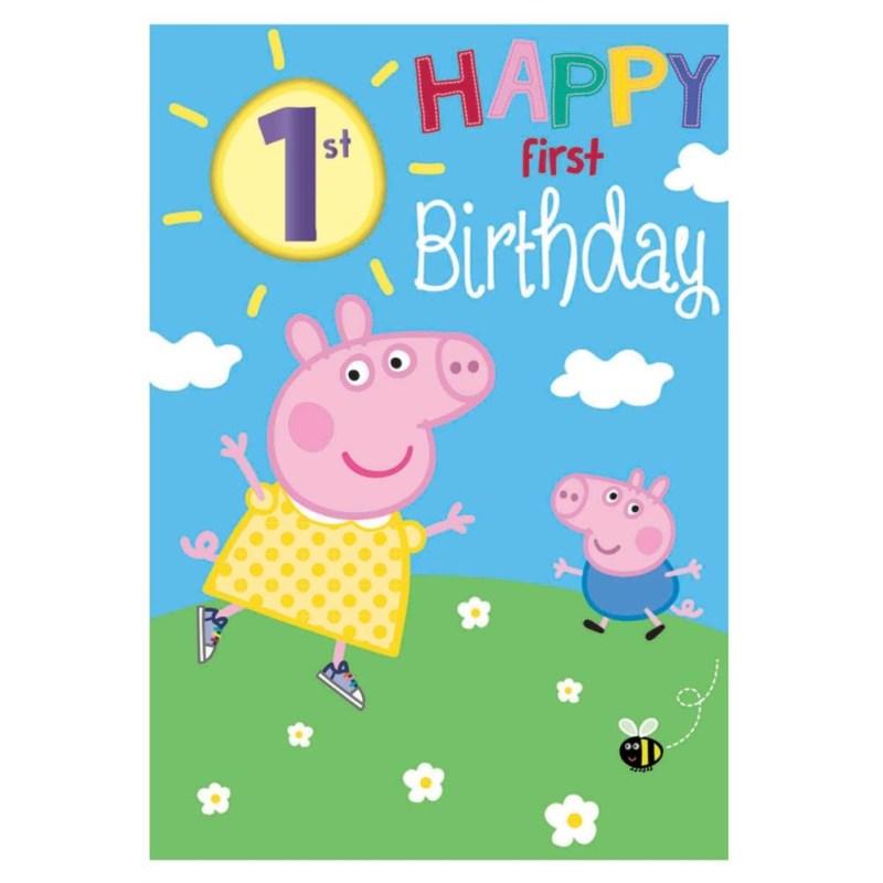 happy 1st birthday peppa pig birthday card