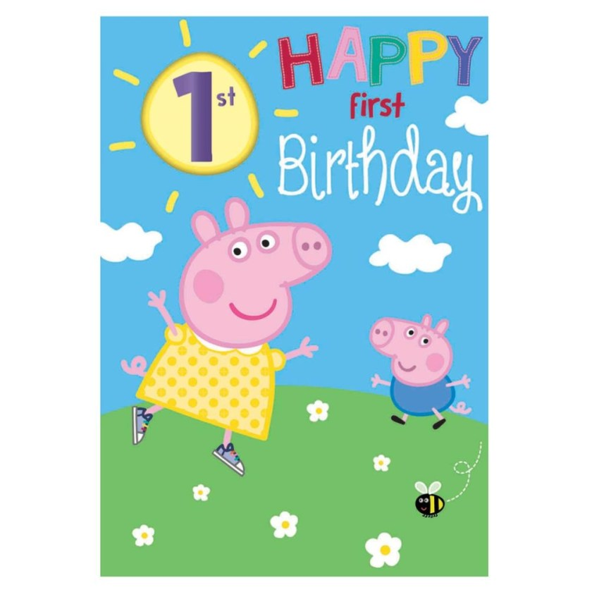 happy 1st birthday peppa pig birthday card