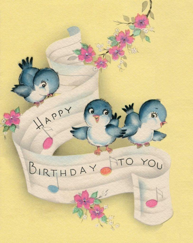 happy birthday bluebirds vintage card birdies of happiness