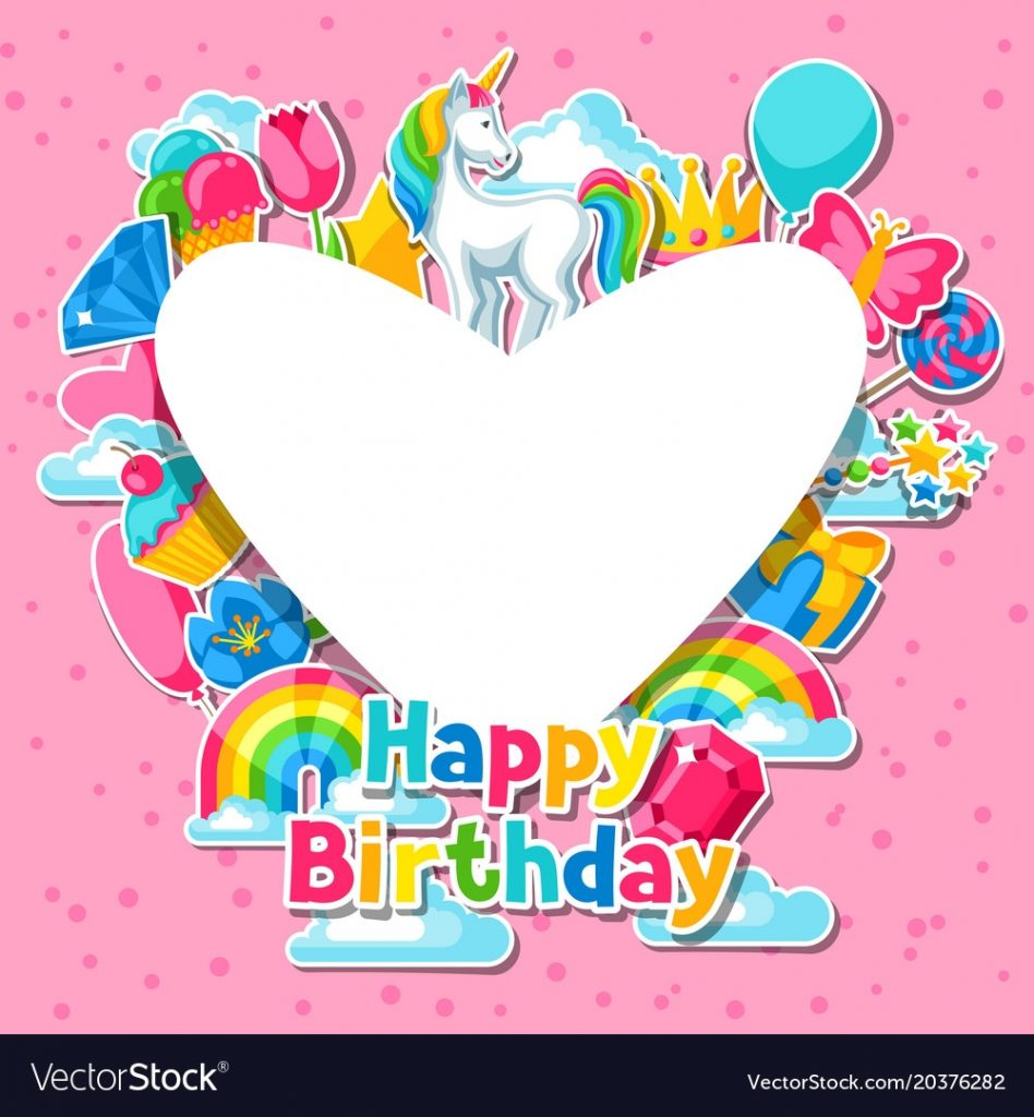happy birthday card with unicorn and fantasy