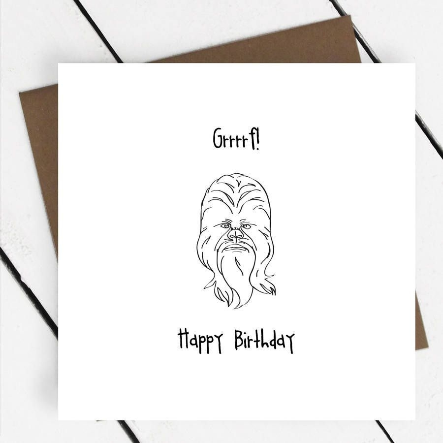 happy birthday chewbacca star wars greeting card a piece