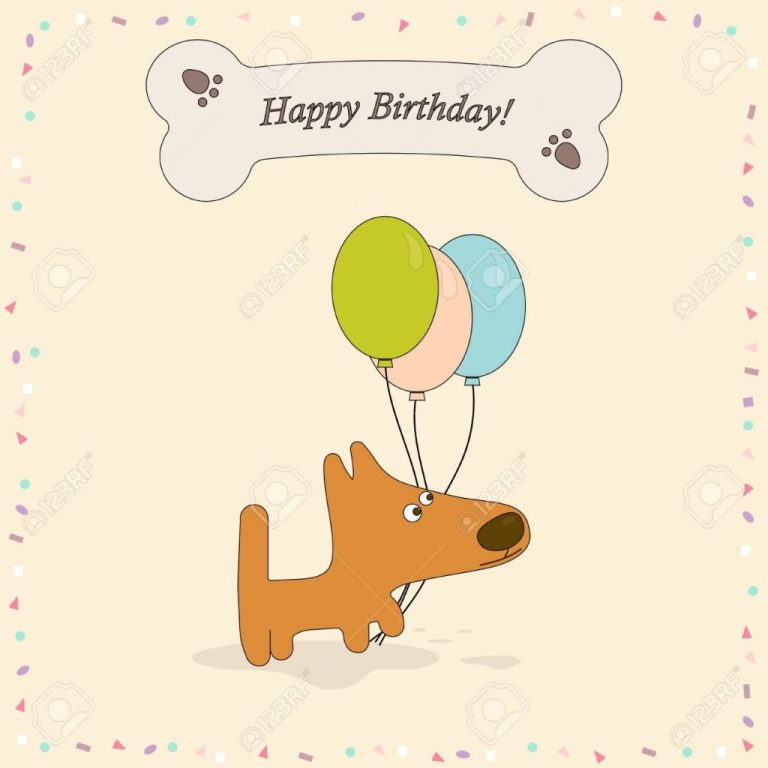 happy birthday greeting card with cute dog background with dog