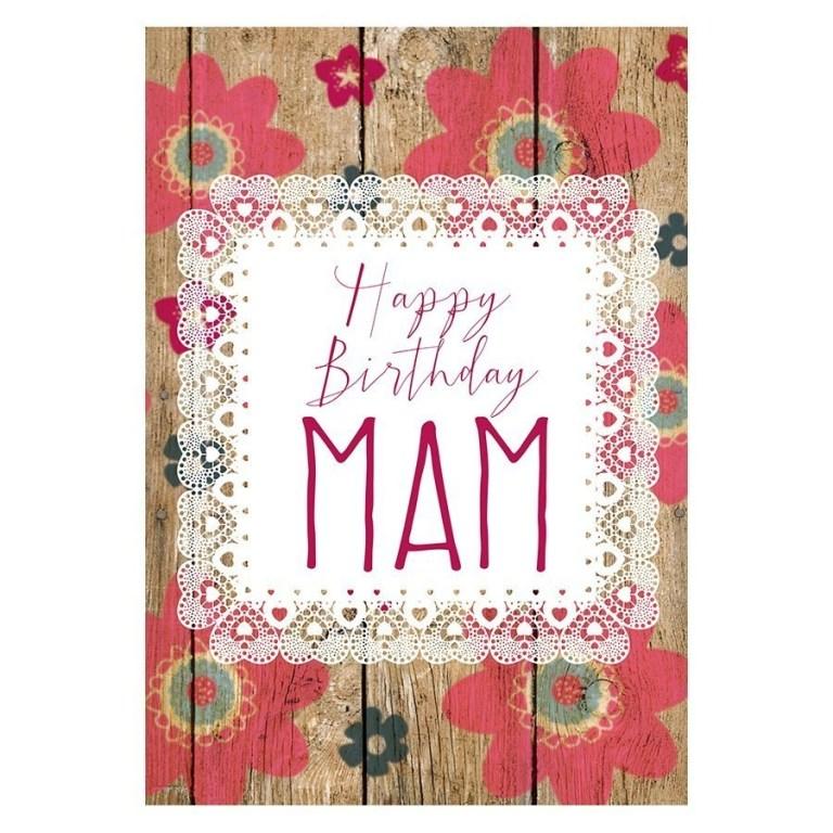 happy birthday mam card floral wood