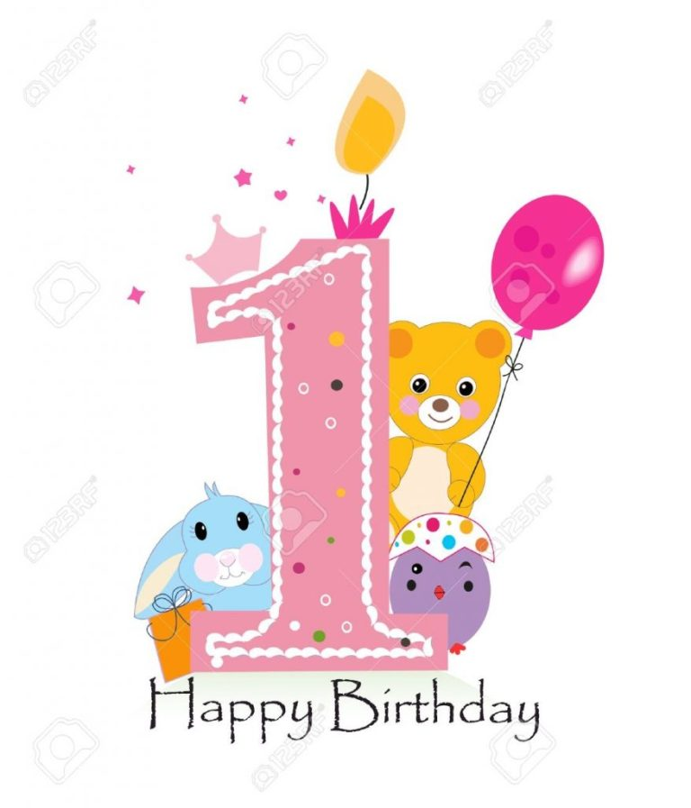 happy first birthday candle ba girl greeting card with bunny