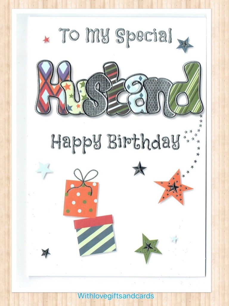 husband birthday card with embossed funky design