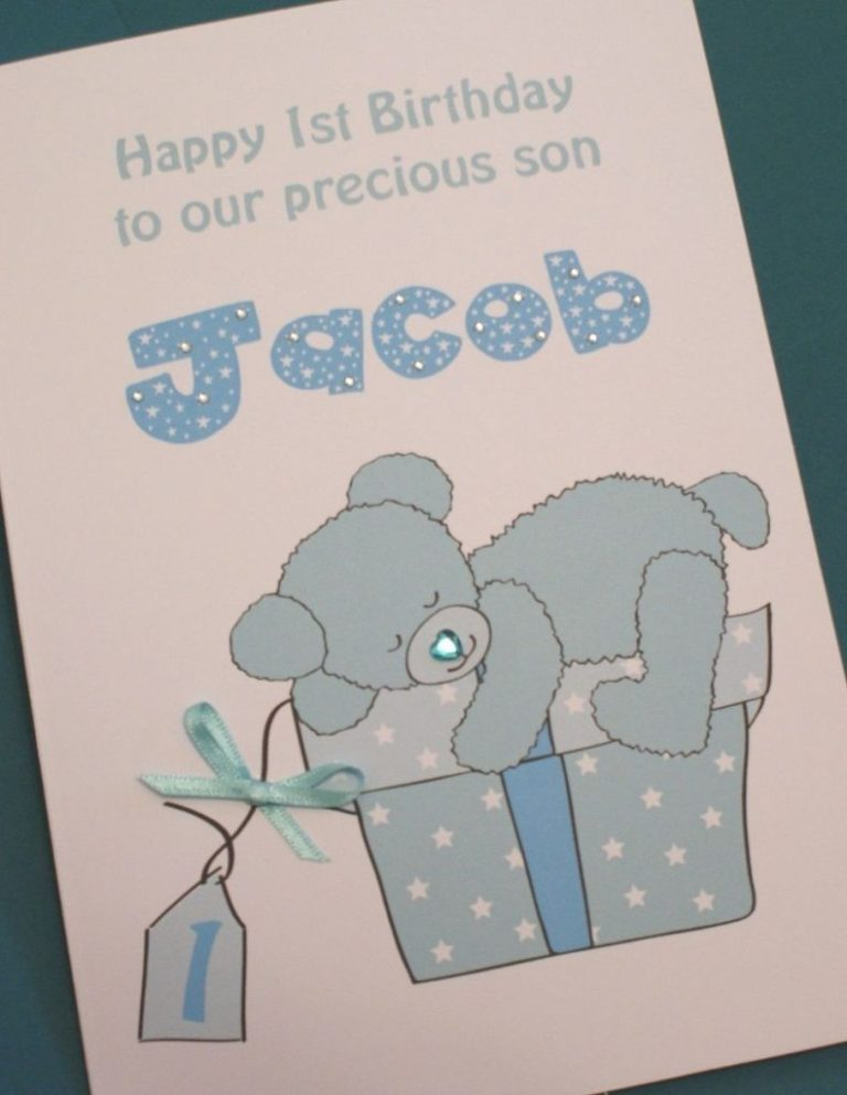 large handmade personalised ba boy 1st birthday card son grandson nephew