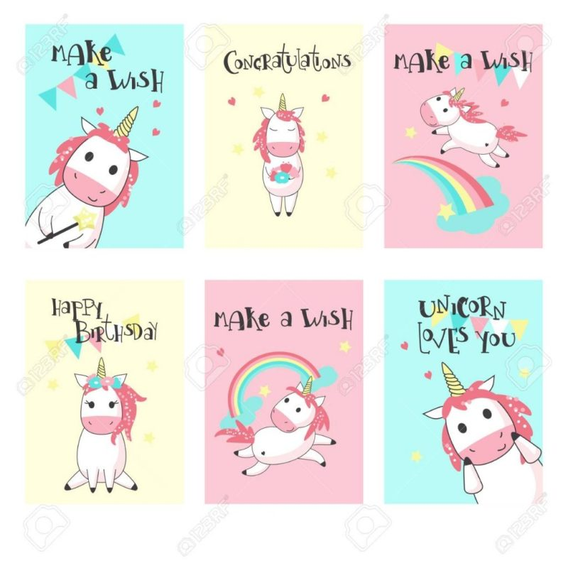 magic unicorn birthday greeting cards vector hand drawn illustration