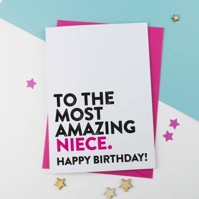 most amazing niece birthday card