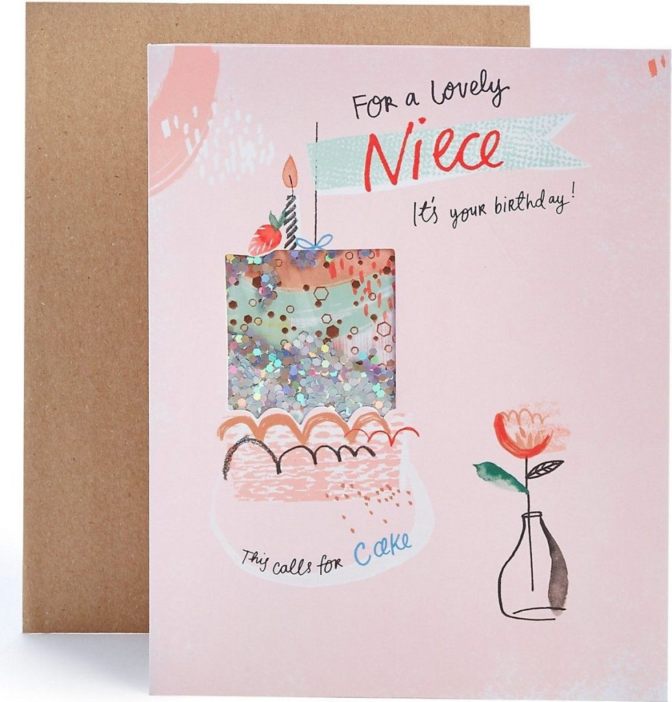 niece sequin cake birthday card