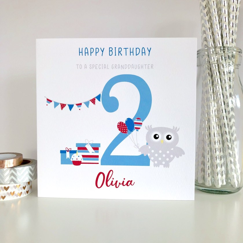 personalised 2nd birthday card for son daughter grandson granddaughter niece nephew boys birthday card girls birthday card owl lb520