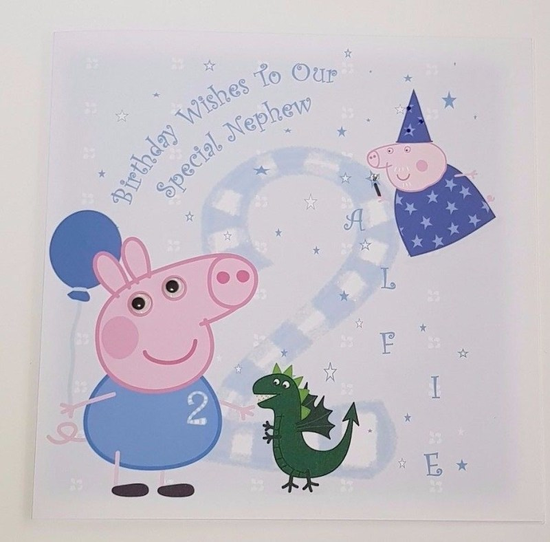 personalised 8x8 birthday card peppa pig george character any relation any age