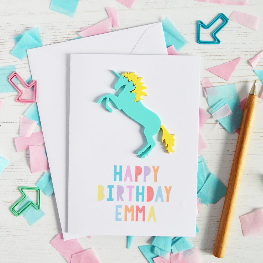 personalised acrylic unicorn birthday card