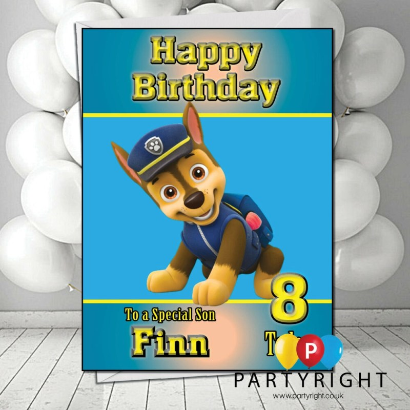 personalised paw patrol chase kids birthday card your name any relation age ebay