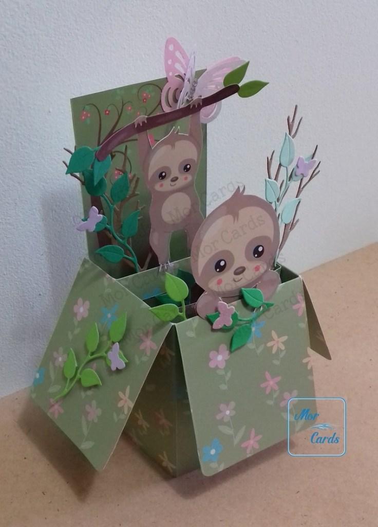 personalised sloth pop up box greetings card handmade birthday card