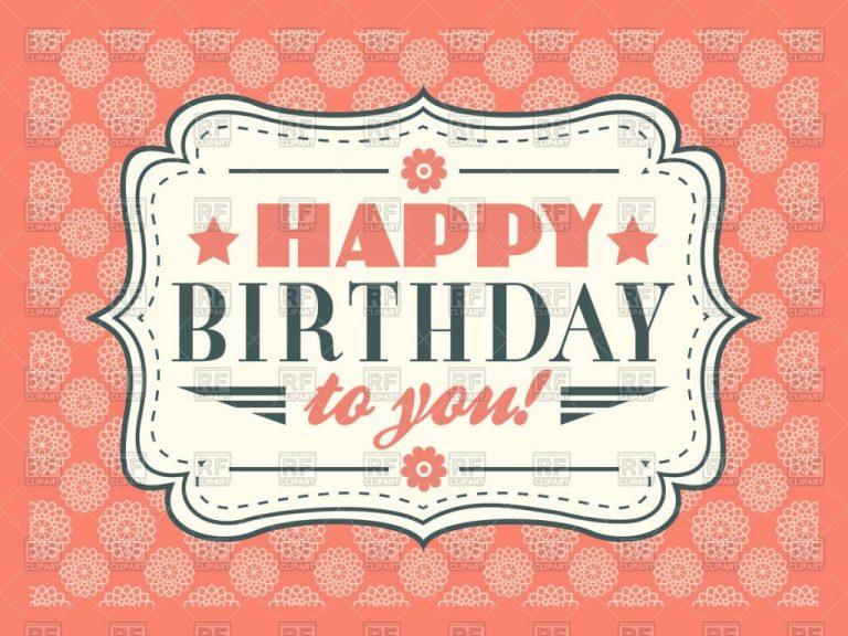 pink retro happy birthday card stock vector image
