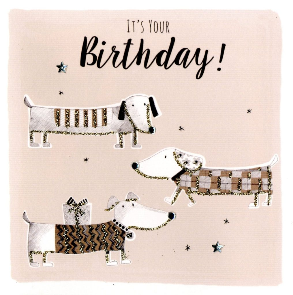 sausage dog birthday greeting card