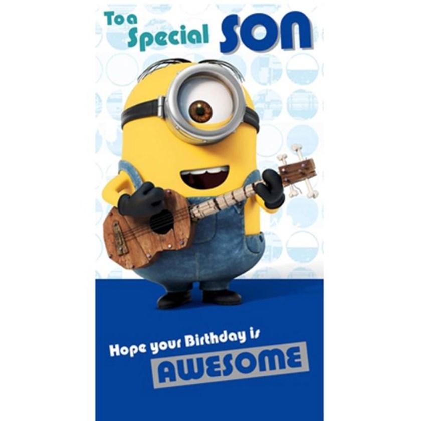 special son minions birthday card
