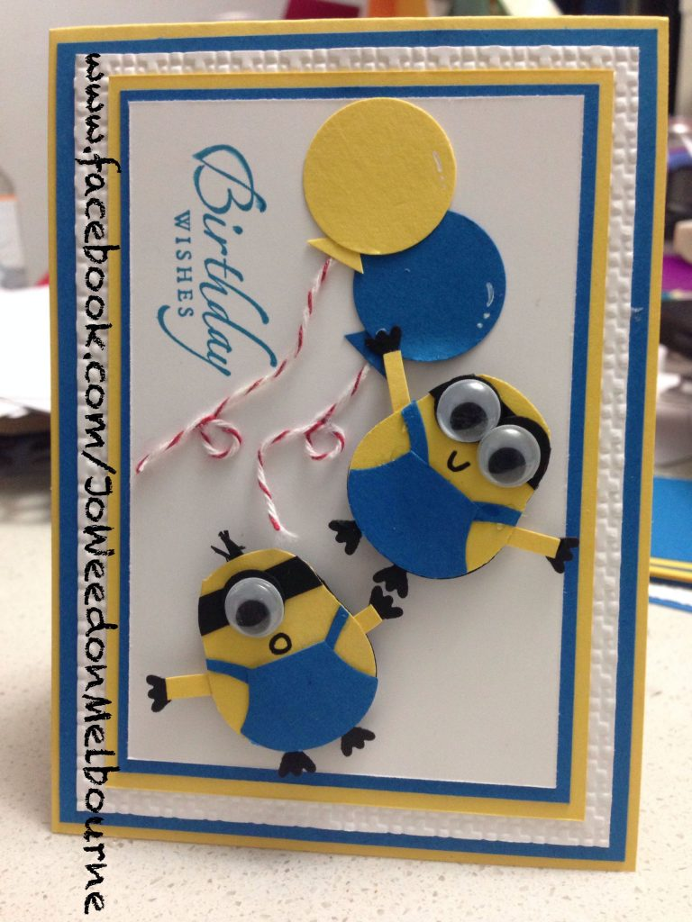 stampin up punch art despicable me minion hand made