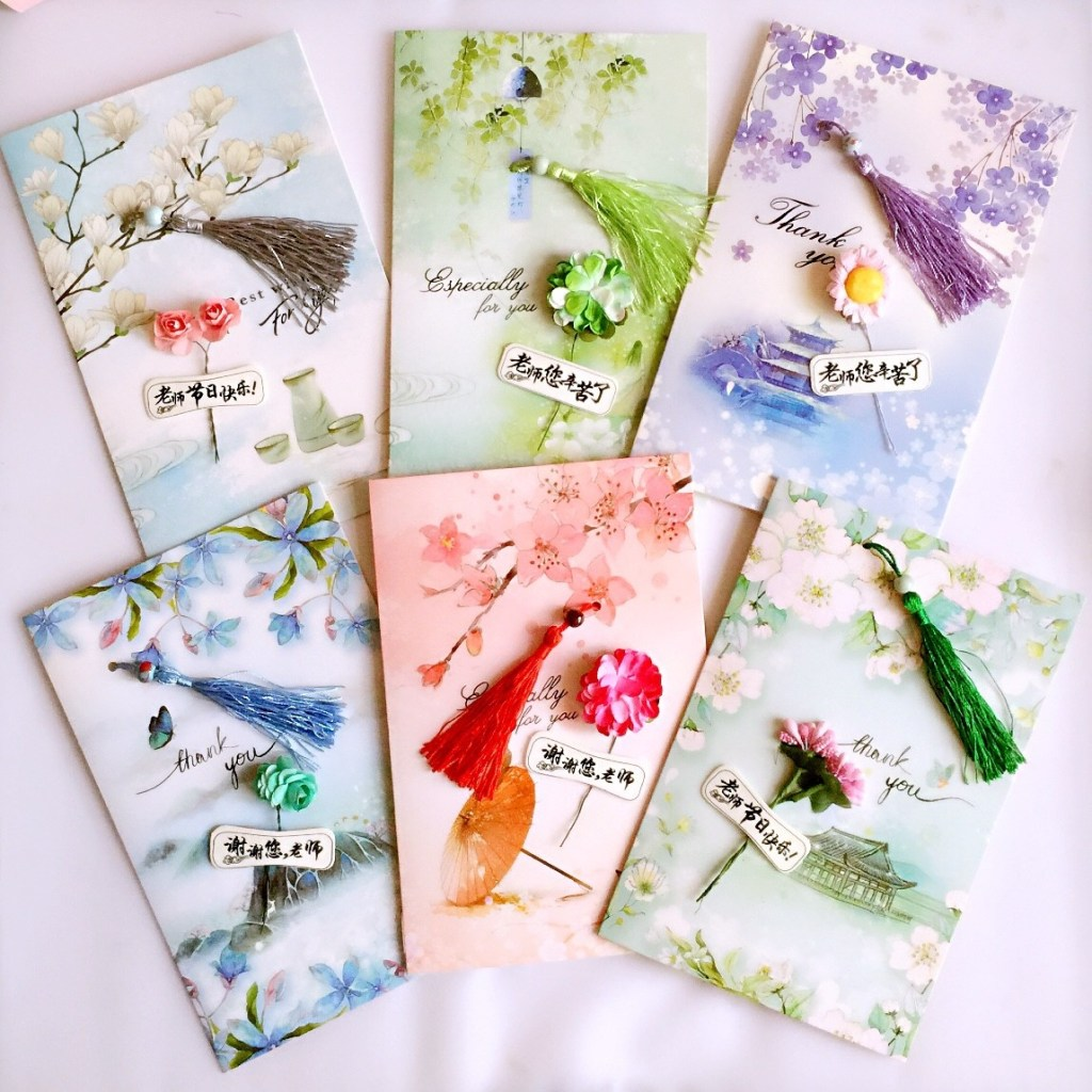 teachers day greeting card handmade diy material package coating color small card homemade birthday male and female teacher thanksgiving gift