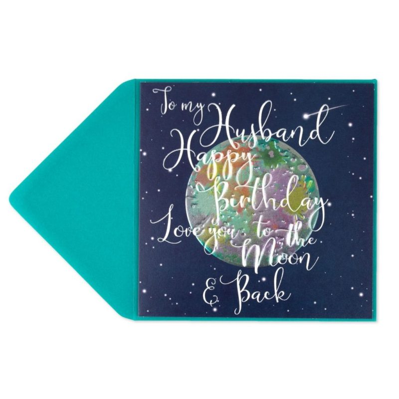 to the moon back birthday card for husband