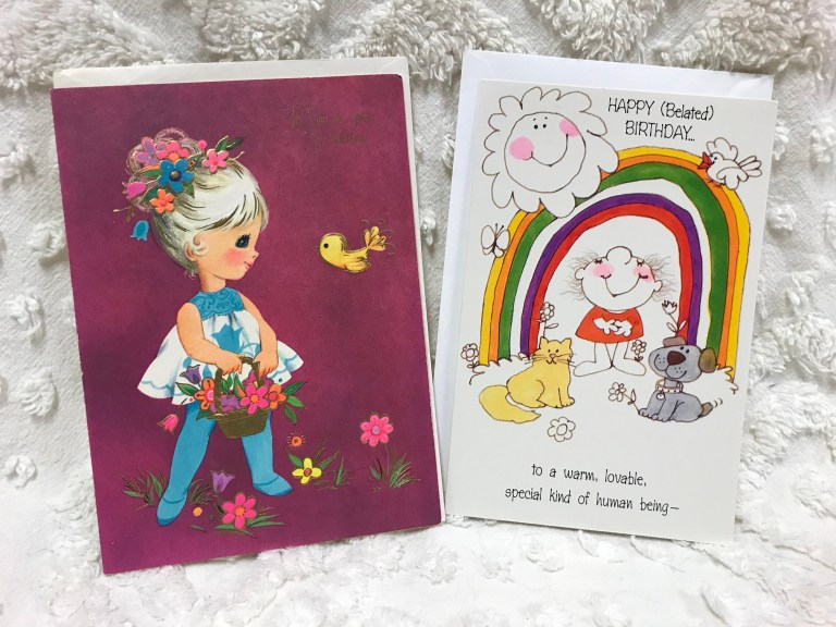 two vintage birthday cards