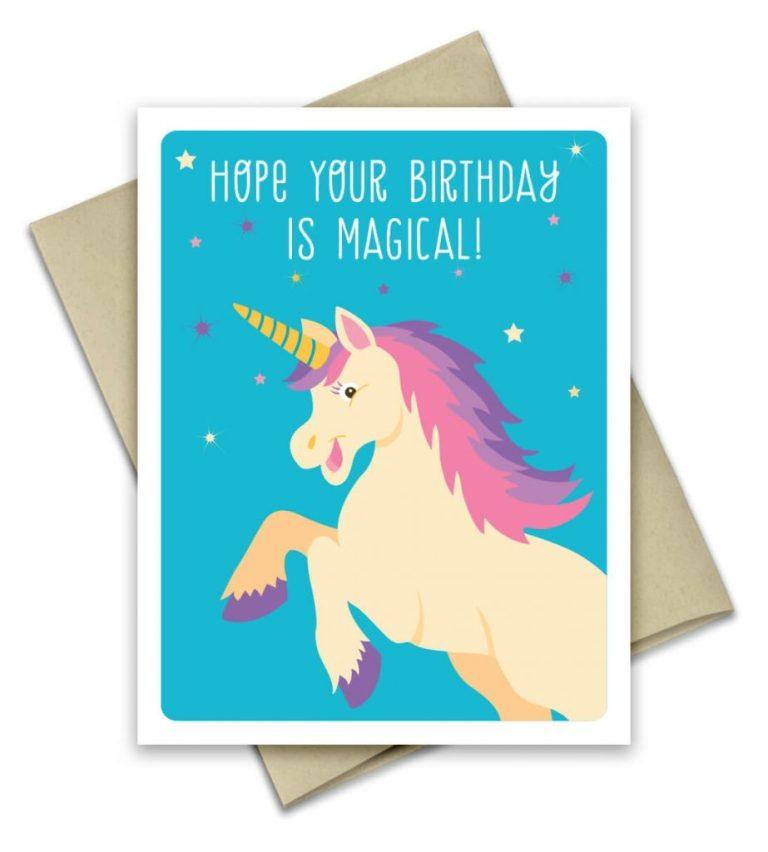 unicorn birthday card greeting card