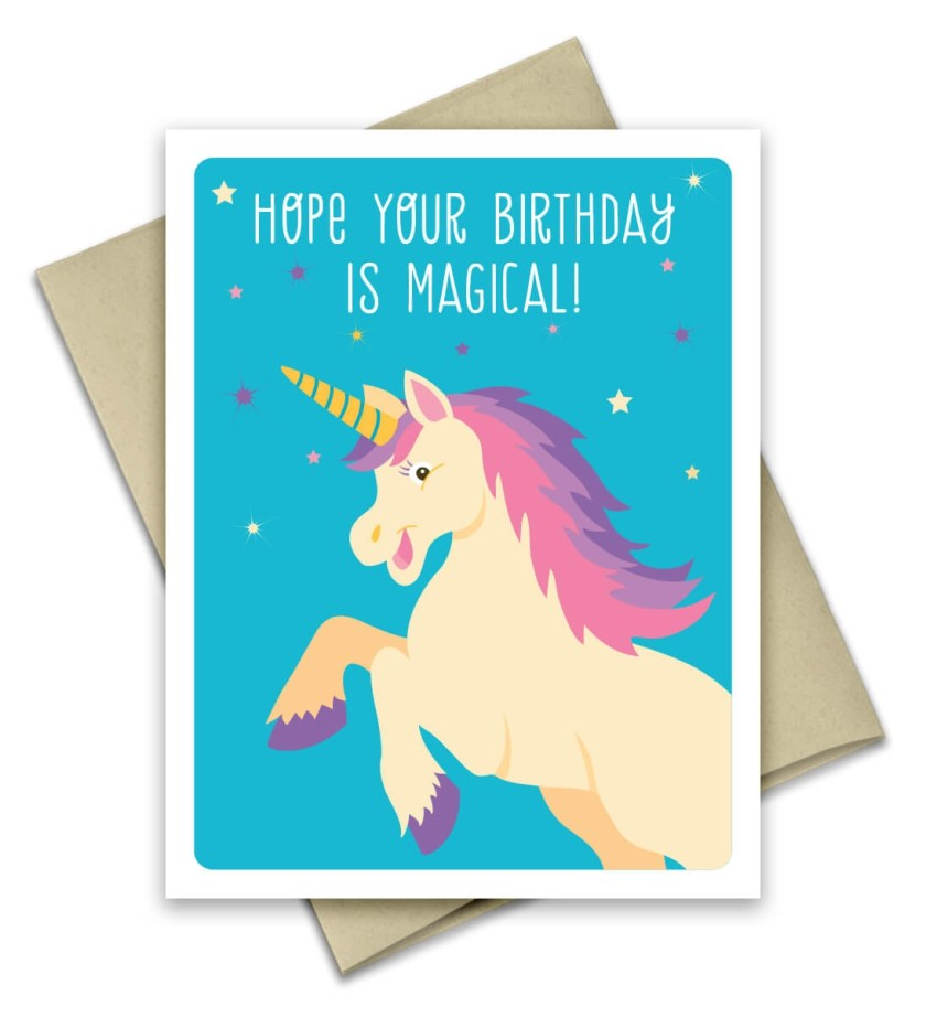unicorn birthday card greeting card