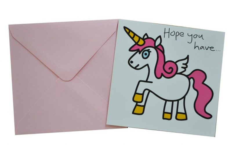 unicorn birthday card with light pink envelope