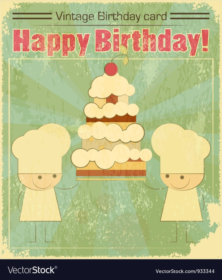 vintage birthday card design with chefs