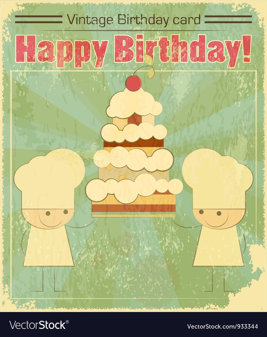 vintage birthday card design with chefs