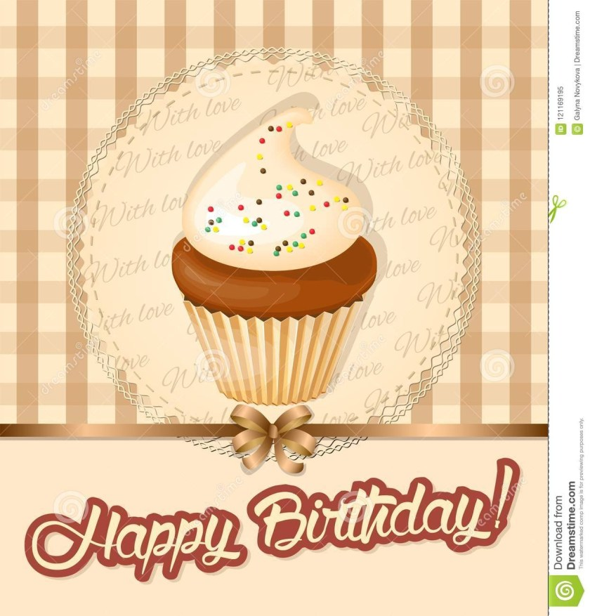 vintage birthday card with meringue cupcake on napkin stock