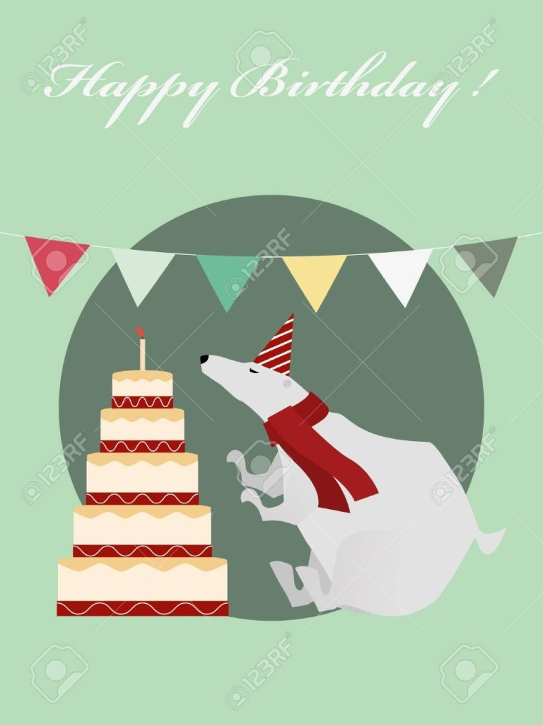 vintage birthday greeting card with funny white bear and big