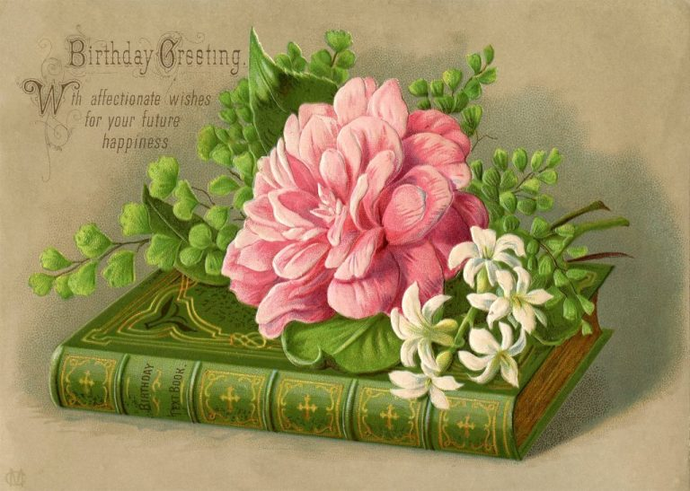 vintage birthday image book flowers the graphics fairy
