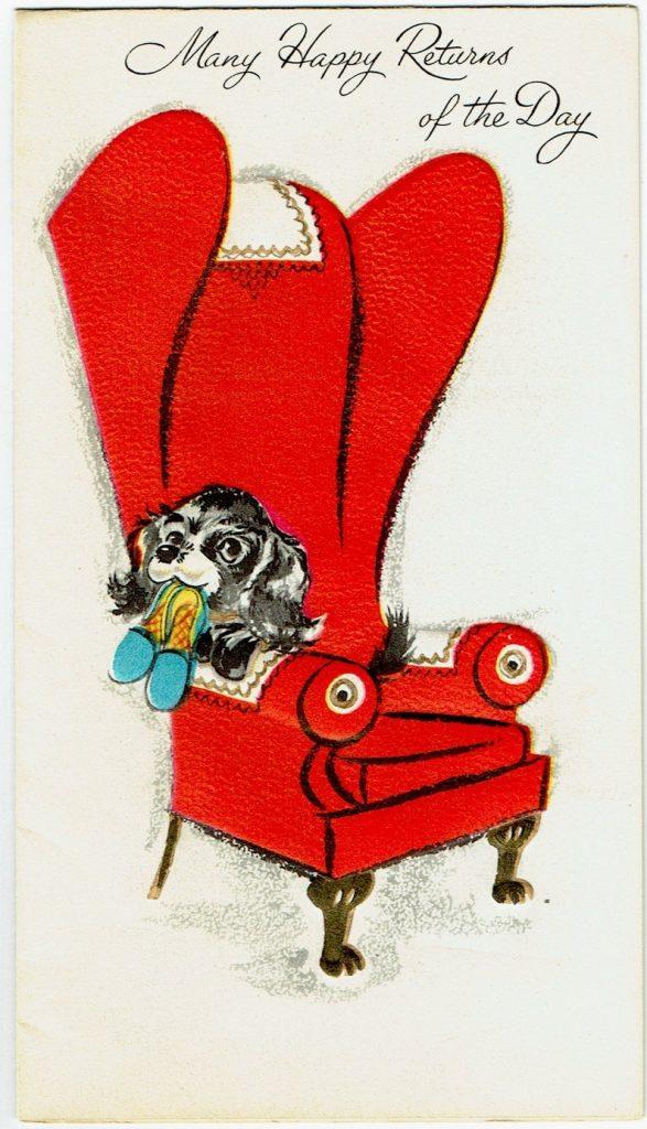 vintage greeting card birthday cocker spaniel 1950s