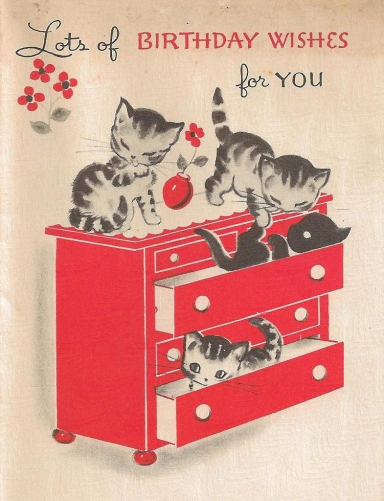 vintage kittens birthday card its my cake kitties