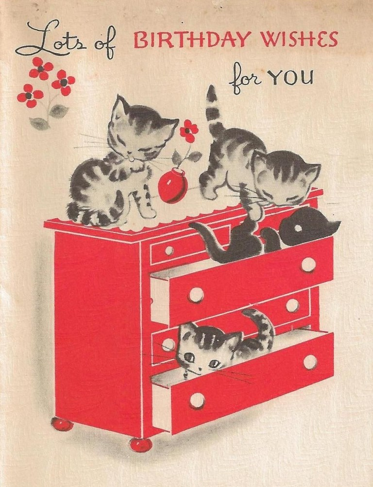vintage kittens birthday card its my cake kitties