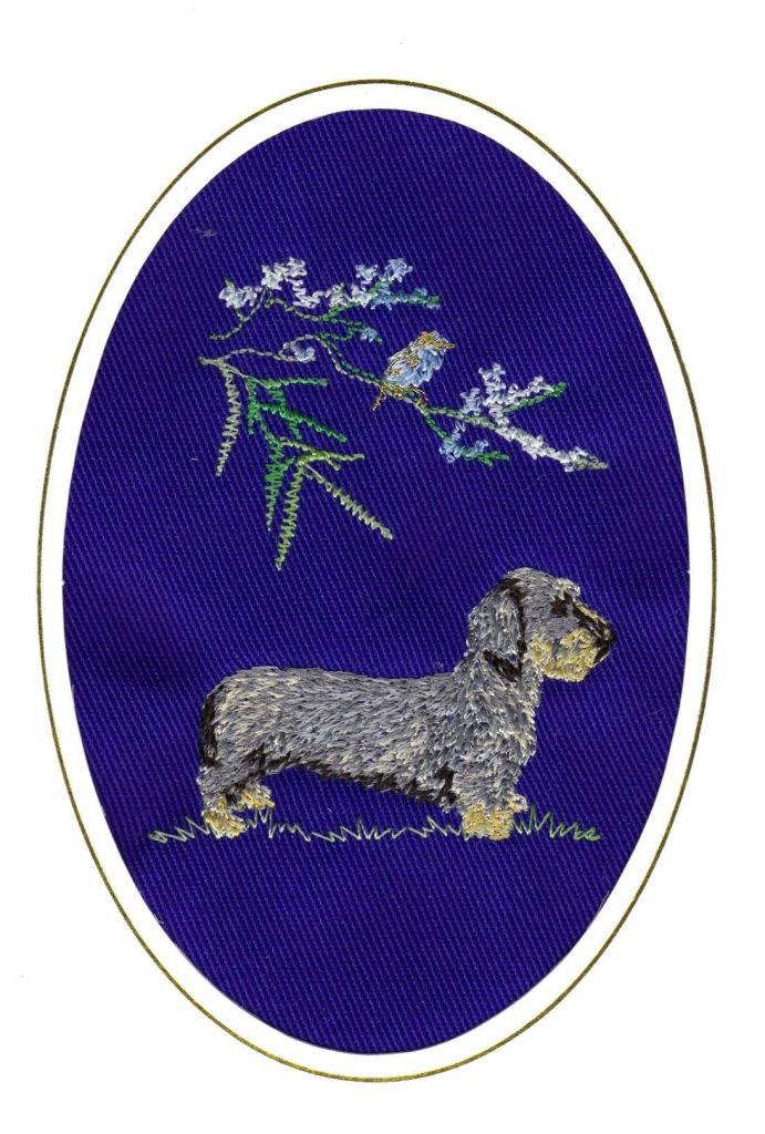 wire haired dachshund birthday card embroidered dogmania 6 x 4 g0263