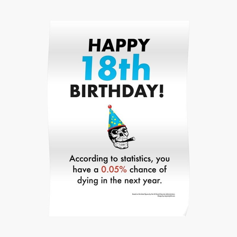 you have a 005 chance of dying in the next year 18th birthday card depressing statistics greetings card poster