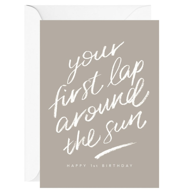 your first lap around the sun happy 1st birthday greeting card galina dixon stationery design