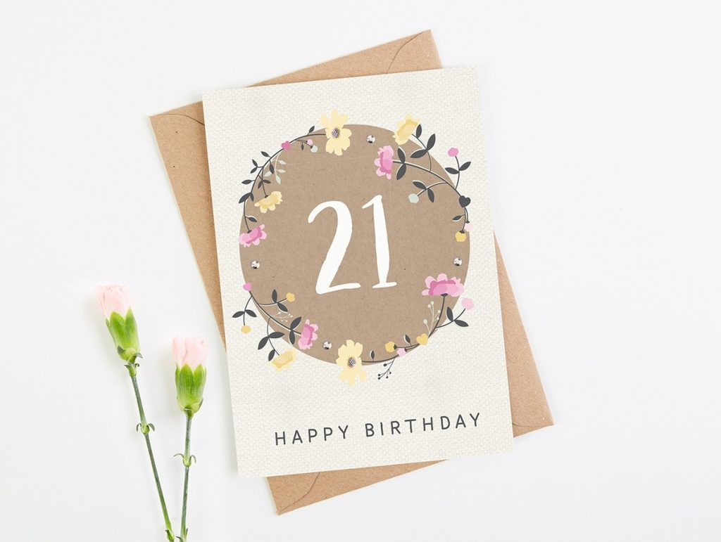 21st birthday card floral