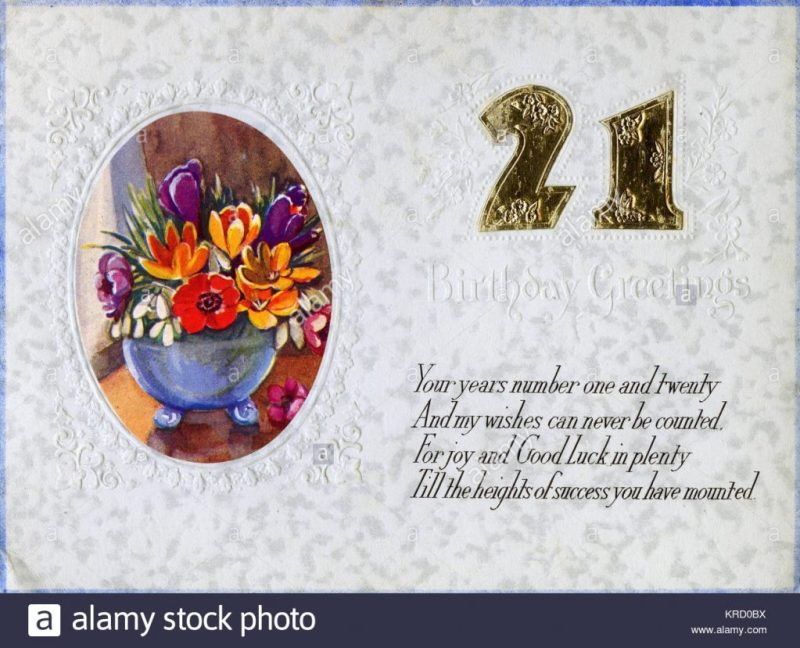 a 21st birthday card with a vase of colourful flowers in an