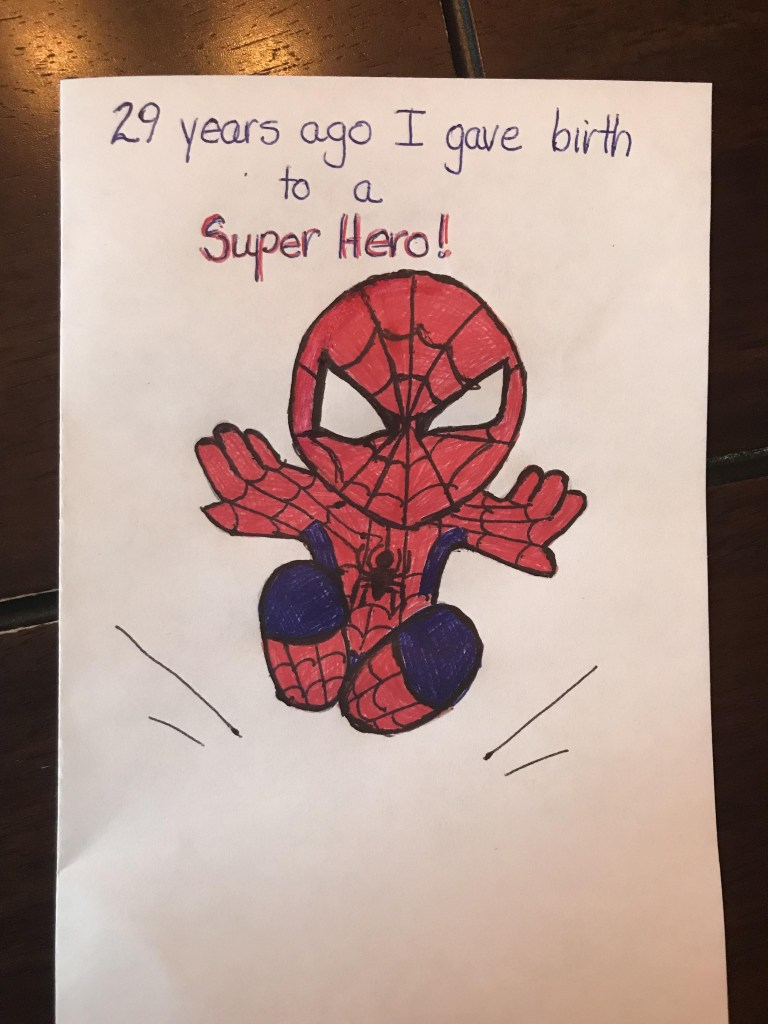 birthday card my mom made for me spiderman