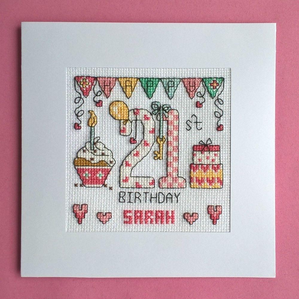 happy 21st birthday cross stitch card kit cross stitch