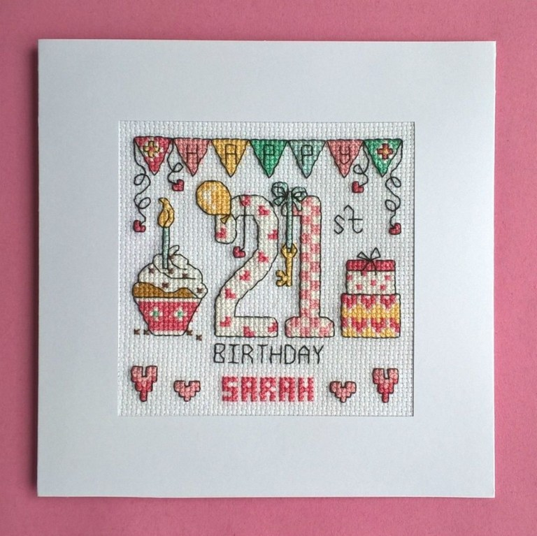 happy 21st birthday cross stitch card kit cross stitch