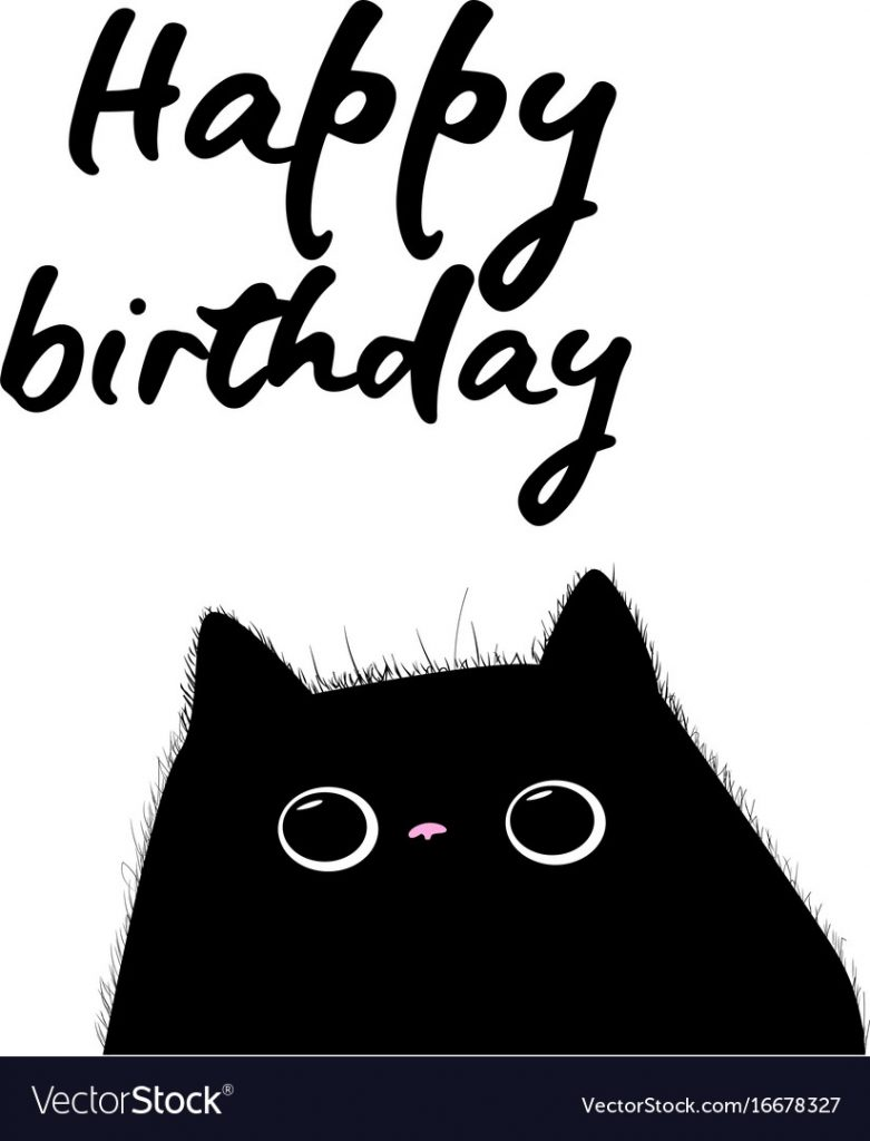 happy birthday card with black cat