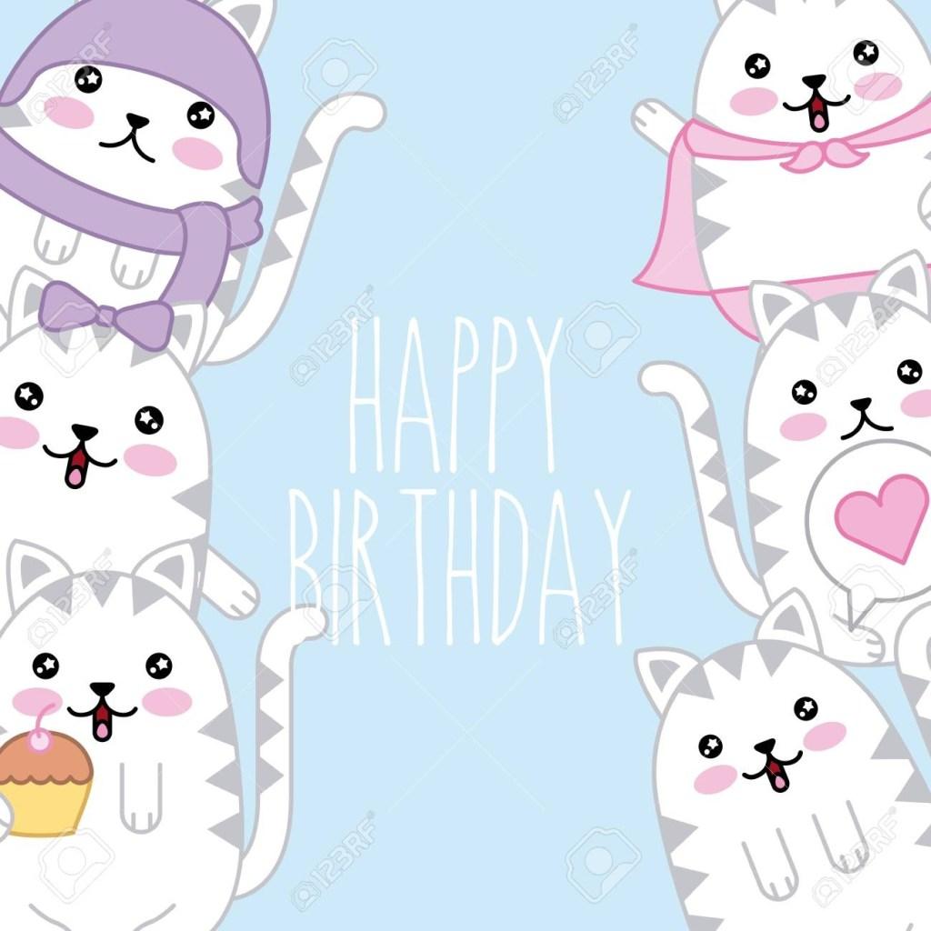 kawaii cute cats happy birthday card template vector illustration