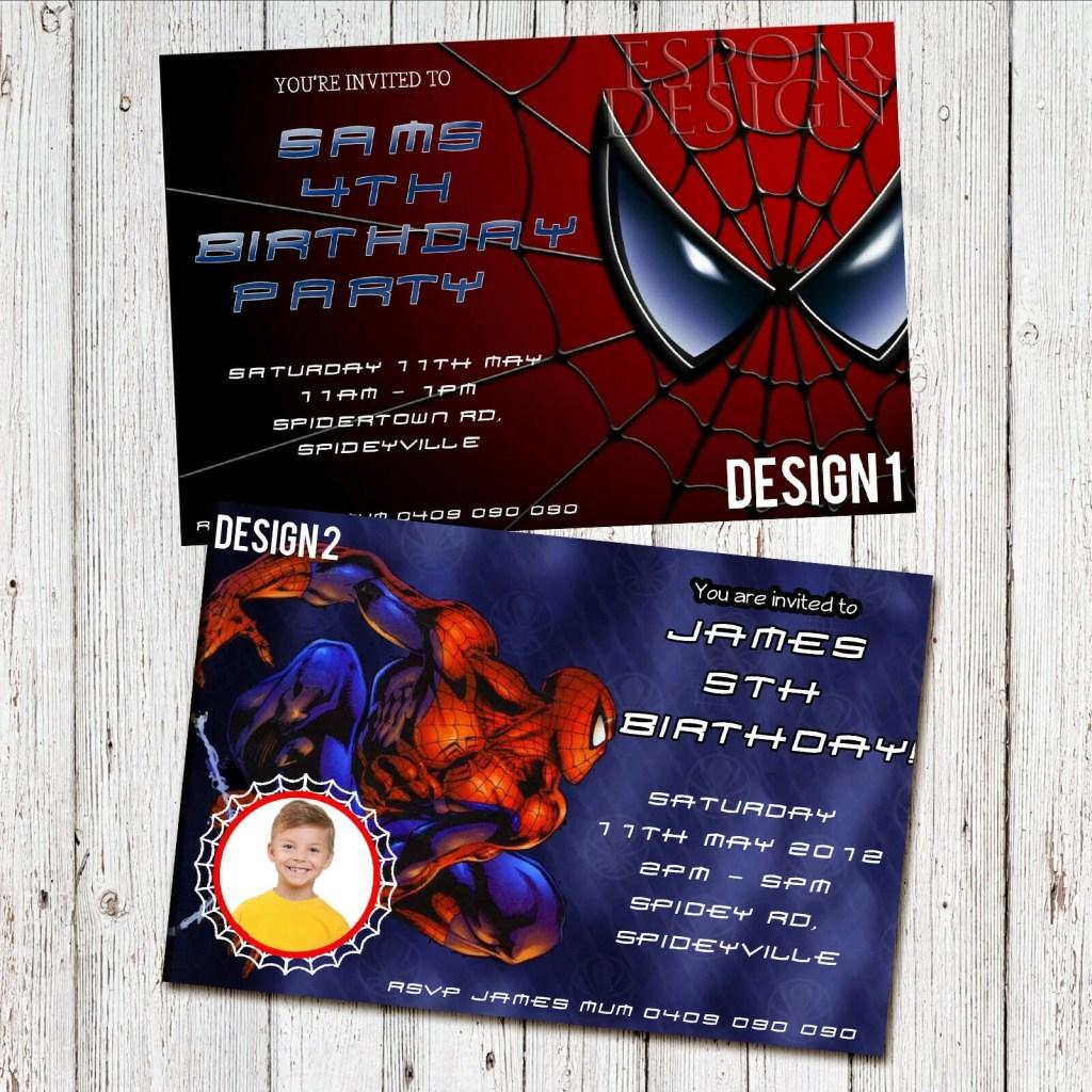 personalised spiderman birthday party photo invitation digital you print