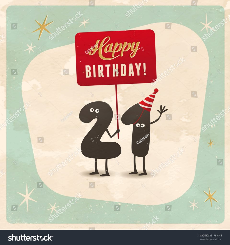 vintage style funny 21st birthday card stock vector royalty
