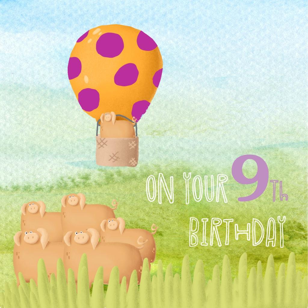 9th birthday card ccs0029